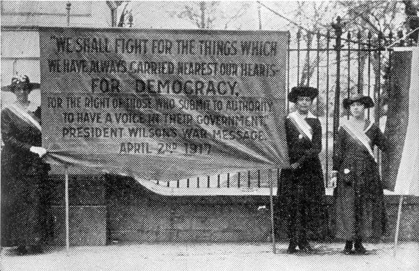 Suffragists from National Women's Party picketing White House, circa 1917